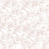 Light background from contour flowers. Beige outline drawing on a light background. Texture for decoration of fabric, tile and. Paper and wallpaper stock illustration