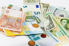 On a light background currency from around the world Stock Image