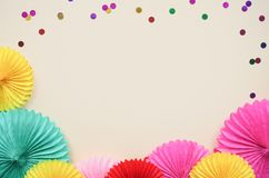 Light background with different circle paper of origami Birthday or party greeting card with copy space. Light background with different circle paper of origami royalty free stock photo