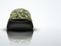 Light Background Military helmet with camo pattern Stock Photography