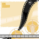 Light background with a reel of film, movie camera and reels. Light background with reel of film movie camera and reels vector illustration
