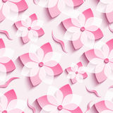 Light background seamless pattern with pink sakura. Light trendy background seamless pattern with pink 3d flower sakura - japanese cherry tree and leaf cutting Stock Images