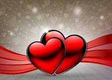 Light background with two red hearts and ribbons. Light beige background with two red hearts, ribbons and shine Royalty Free Stock Photo