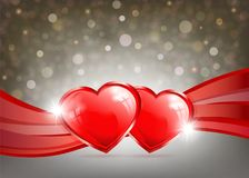 Light background with two hearts, ribbons and shine. Light background with two red hearts, ribbons and shine Stock Photo