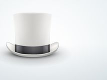 Light Background White gentleman hat cylinder with Royalty Free Stock Photography