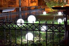 Light balls in the garden stock image