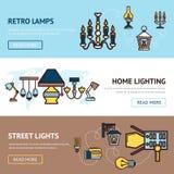 Light Banners Set Stock Photos