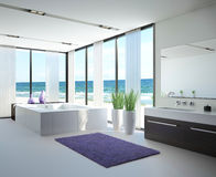 Light bathroom interior with jacuzzi Stock Photo