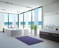 Light bathroom interior with jacuzzi. A 3d rendering of light bathroom interior with jacuzzi Stock Photo