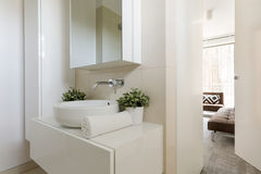 Light bathroom with small mirror. Light minimalist bathroom with small mirror and white towel with potted plants Royalty Free Stock Photography