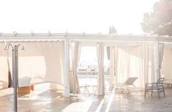 Light beach restaurant. Light and beautiful beach restaurant in Portoroz Slovenia royalty free stock image