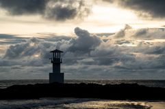 Light beacon at sunset. With dramatic clouds in the background Royalty Free Stock Photography