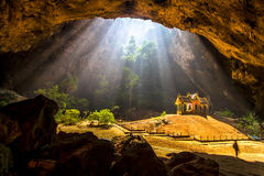 Light beam in cave. Light beam and Palace in cave Royalty Free Stock Image