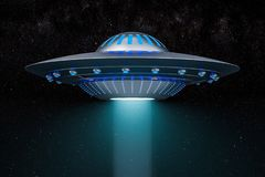 Light beam from flying UFO in space. 3D rendering. Light beam from flying UFO in space. 3D Royalty Free Stock Images