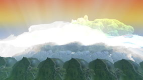 Light beam penetrates the clouds and the mountains stock video footage