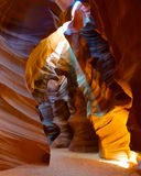 Light beam shining through the slot canyon. Royalty Free Stock Images