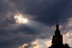 Light beam to church Stock Photography