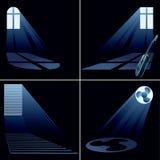Light beams inside window -  set Royalty Free Stock Photography