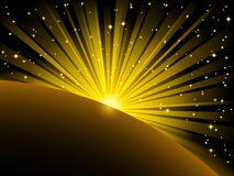 Light beams and stars over planet Royalty Free Stock Photo