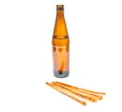 Light beer in bottle and fish snack Stock Photo