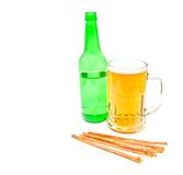 Light beer and fish snack Stock Photo
