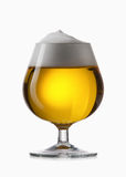 Light beer into glass isolated on white Stock Images