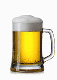 Light beer into glass isolated on white Stock Image