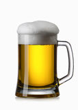 Light beer into glass isolated on white Royalty Free Stock Images