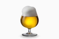 Light beer into glass isolated on white Royalty Free Stock Image