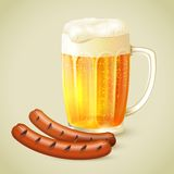 Light beer and grilled sausage emblem Royalty Free Stock Images