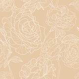 Light beige background with outline hand drawn rose flowers. Vector floral seamless pattern Royalty Free Stock Images