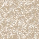 Light beige background from white contour flowers. Texture for the decoration of fabrics, tiles and paper and wallpaper on the vector illustration