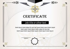 Light beige certificate with black and gold elements Royalty Free Stock Photos