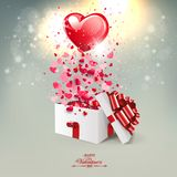 Light beige composition with a silhouette of a white box and a big red heart, postcard. Light beige composition with a silhouette of a white box and a big red vector illustration