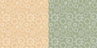 Light beige and green vector seamless patterns with collection of gears - industrial backgrounds royalty free illustration