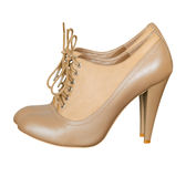 Light beige high heels with lace.Fashion shoes isolated. Stock Photos