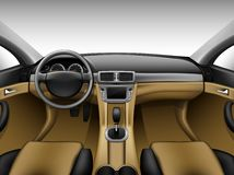 Light beige leather car interior Royalty Free Stock Image