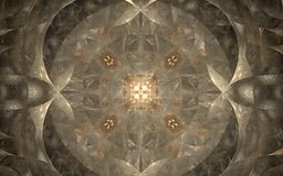 Light beige ornament in medieval style. Abstract pattern of light beige and brown colors are symmetrically located in the center of the composition with striking stock illustration