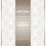 Light beige ornamental invitation card Stock Image