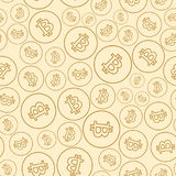 Light beige seamless pattern with bitcoins - vector background Stock Photography