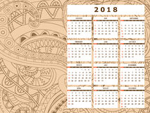 Light beige tangle zen pattern calendar year 2018. Business english calendar for wall on year 2018 on the gradient background with hand drawn tangle zen pattern vector illustration