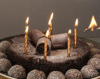 Light birthday candles Stock Photo