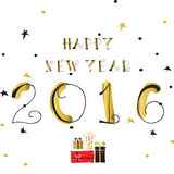 Light black red gold happy new year with gift box. In winter Royalty Free Stock Photo