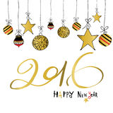 Light black red gold happy new year with star and ball. In winter Stock Photography