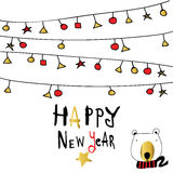Light black red gold happy new year with star and cartoon bear Royalty Free Stock Image
