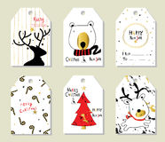 Light black red gold love christmas price tag with tree and bear Royalty Free Stock Images