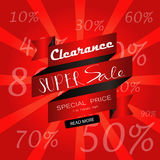 Light black red sale with ribbon banner on summer. Light black red sale with ribbon banner and number discount Stock Image