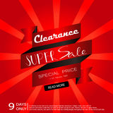 Light black red sale with ribbon banner. Super sale Royalty Free Stock Photo