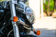 Light of black sport bike. With blur background Stock Images