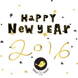Light black yellow gold happy new year with star bird and wreath Royalty Free Stock Photos